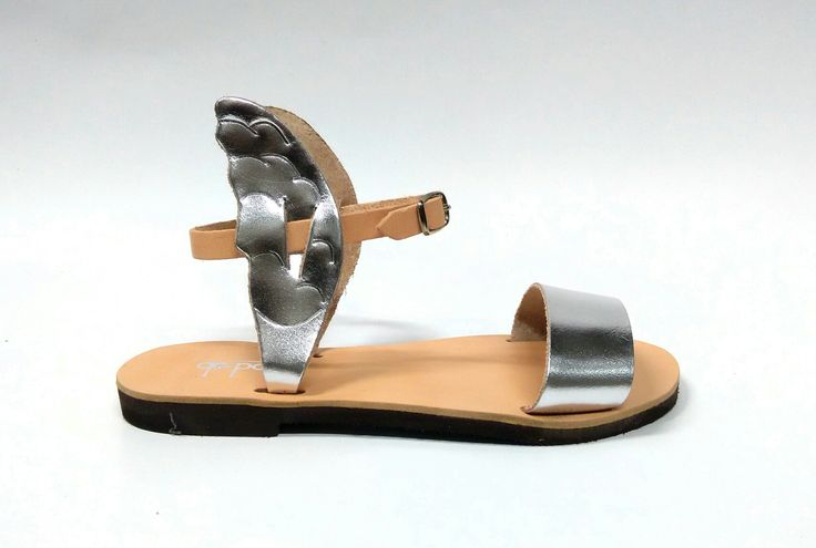 Iris _Silver and natural Handcrafted leather sandals