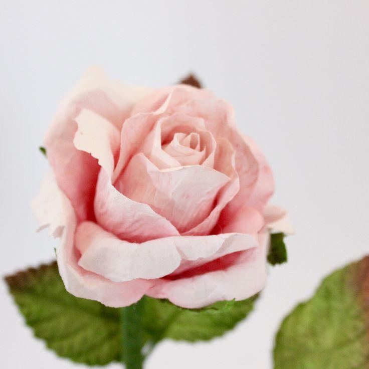 Long Stemmed Paper Rose Medium- Light Pink – Paper Flowers Australia