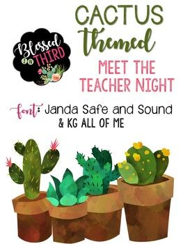 "This amazing deal is 25 pages of the perfect cactus meet the teacher night theme! This set includes: Welcome sign 6 pre-made station signs 6 blank station signs Transportation log Sign-in sheet Supplies wish list sign Supplies wish list pre-made Supplies wish list blank ""Sharp Pre-K'ers"" all the way through ""Sharp 6th Graders"" signs ""Can't wait to watch you grow"" treat labels Blank treat labels Blank half page template"