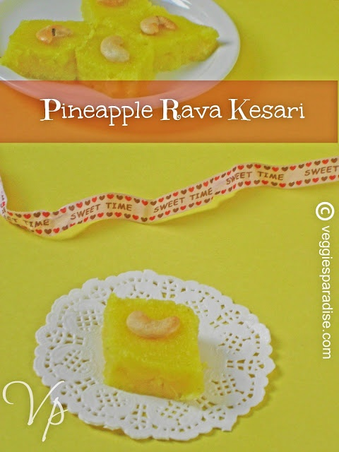 PINEAPPLE RAVA KESARI - Pineapple rava kesari -  A simple and truly delicious sweet prepared with semolina and sugar, flavored with pineapples.
