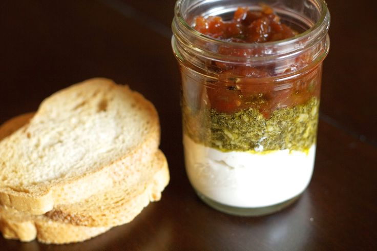 Recipe: Ricotta and Pesto Spread with Homemade Tomato Jam ... Perfect app for a #Holiday party