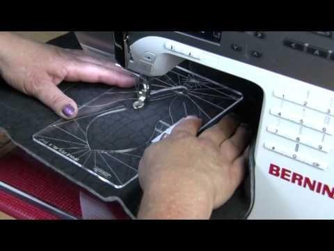 Ruler work on a Bernina Sewing Machine - YouTube   ruler foot attached to Bernina adaptor shank, stitch length to zero.