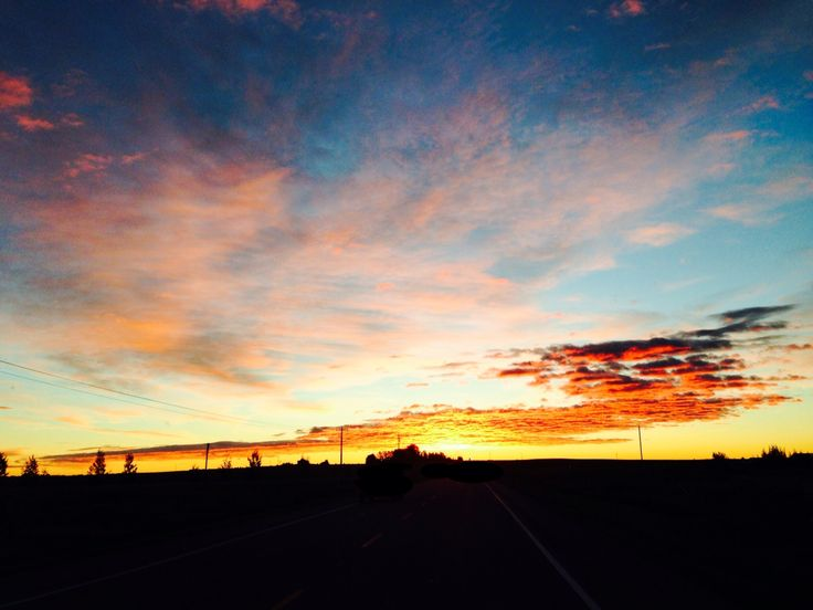 On Alberta highways - the sunrise.