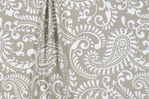 Custom Fabric Shower Curtain Paisley Taupe Grey White 72 X 84 108