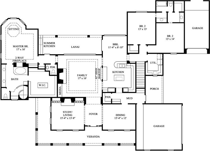 Country Style House Plans - 3057 Square Foot Home, 1 Story, 3 Bedroom and 2 3 Bath, 3 Garage Stalls by Monster House Plans - Plan 62-140