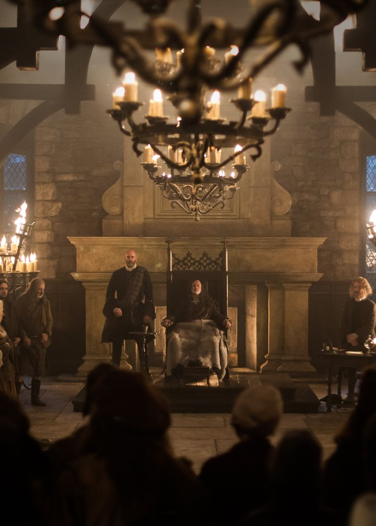 Colum (Gary Lewis) and Dougal (Graham McTavish) MacKenzie hold court in the Great Hall at Castle Leoch during The Gathering.