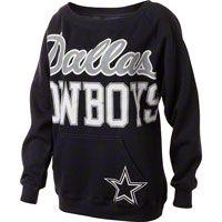 Dallas Cowboys Women's Navy Open Neck Joy Crew Sweatshirt
