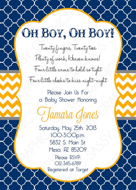 Twin Boys Baby Shower Invitation  Navy Blue Orange by Sassygfx, $13.00