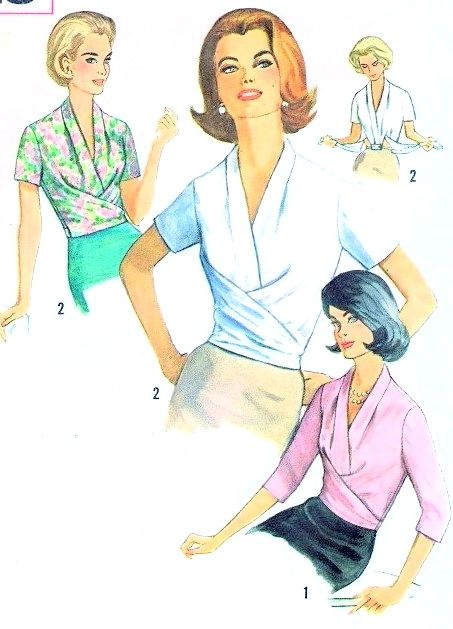 1960s Classy Draped Surplice Blouse Pattern Simplicity 5018 Stunning Design Perfect Under Suits Bust 34 Vintage Sewing Pattern