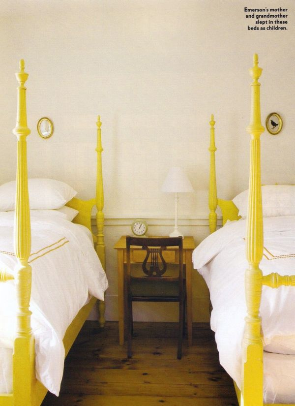 Painted yellow 4-poster beds.: Poster Beds, Guest Room, Idea, Color, Bed Frame, Twin Beds, Bedrooms