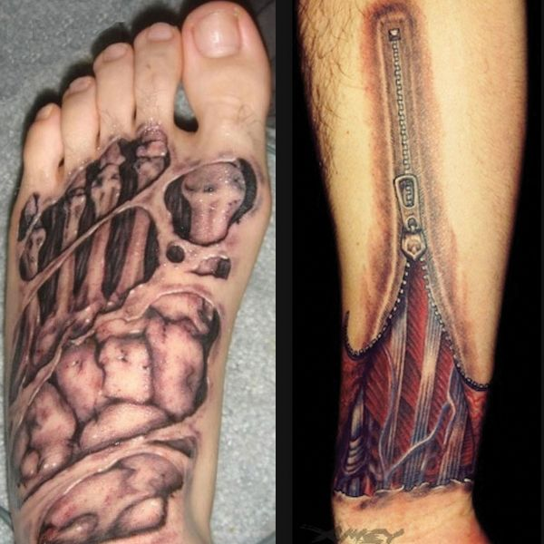 foot and arm anatomy tattoo