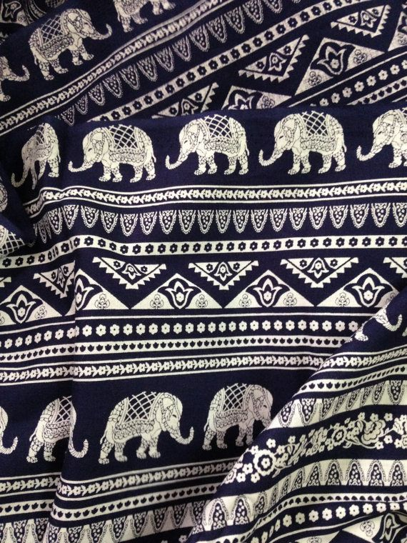 Elephant Print Fabric, Boho Fabric,Alternate Elephant Print,Dark Navy and White, Indian Cotton,Indian Elephant,fabric by the yard,folk print