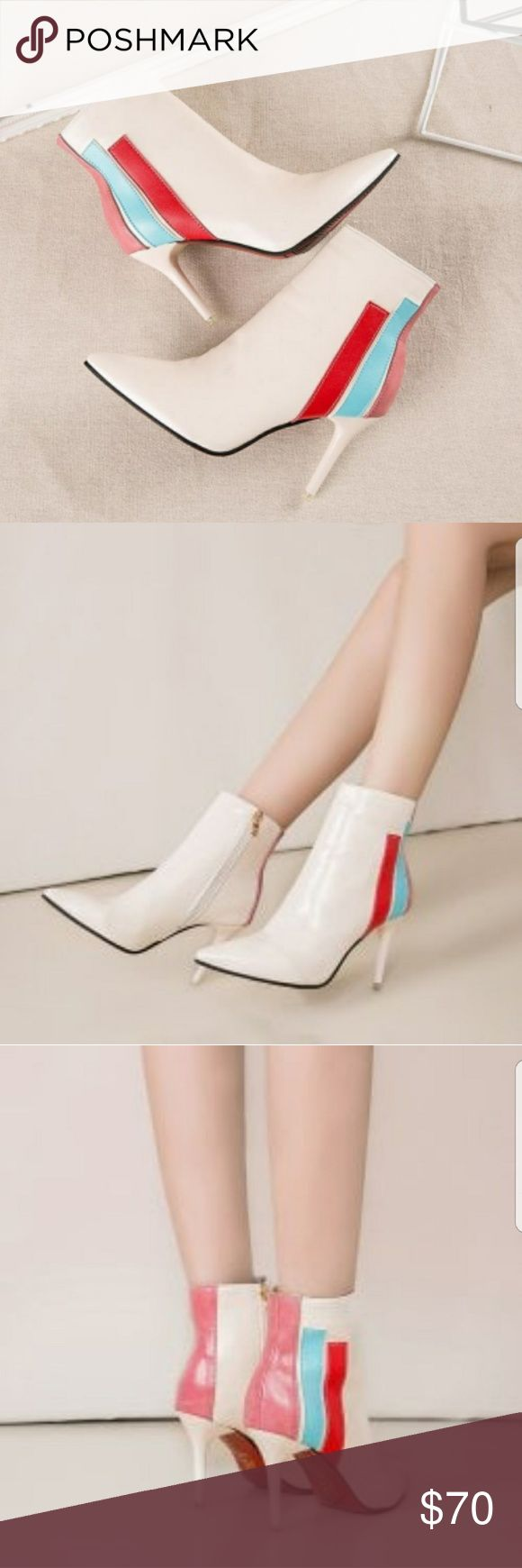 Leather short tube color high heel boot WOMEN'S FINE POINT LEATHER SHORT TUBE COLOR HIGH HEEL BOOTS  - RETAIL:$120  - SIZE: 38(8),39(9)  - COLOR: WHITE  - TOE STYLE:CLOSED TOE  - TOE SHAPE: POINTED  - HEEL SHAPE: STILETTO HEEL   - CONDITION: BRAND NEW IN BOX NO DEFECTS   - POSITIVE FEEDBACK IS GREATLY APPRECIATED THANK YOU. unbranded Shoes Ankle Boots & Booties