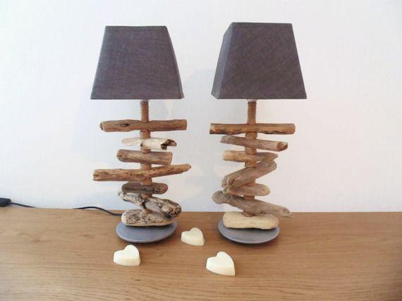 lot de 2 lampes bois flotté - chevets - socle argent rond - abat-jour carré gris