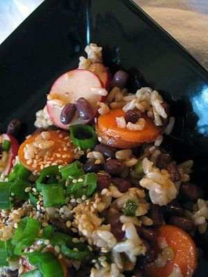 Spicy Azuki Bean and Brown Rice     http://foodandspice.blogspot.com/2009/07/spicy-azuki-bean-and-brown-rice-salad.html