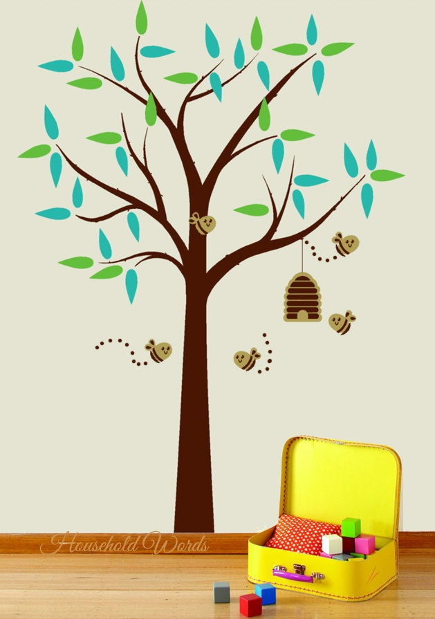 Tree decal for kids rooms beehive and bees childrens decor for Bumble bee mural