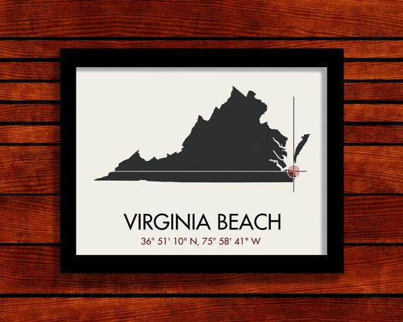 Virginia Beach Latitude Longitude Map Art City by MrCityPrinting, $25.00  Culpeper idea too..