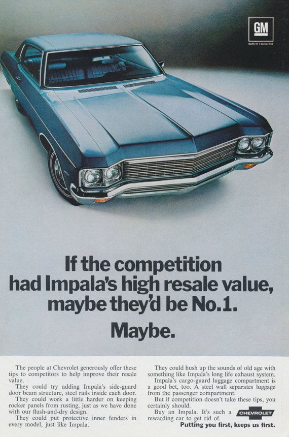 1970 Chevy Impala Car Ad Blue Automobile Photo by AdVintageCom