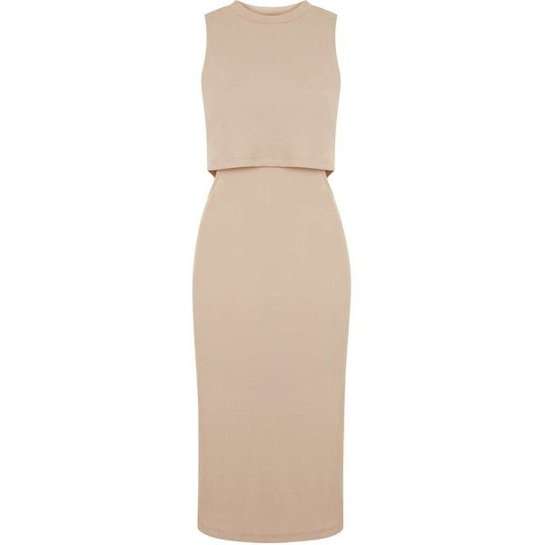 TOPSHOP Sleeveless Cut-Out Midi Dress found on Polyvore