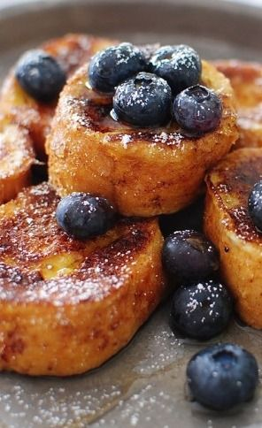 French Toast Nuggets * 1 skinny French baguette, sliced into 1-inch pieces * 5 eggs * 3 Tbs. brown sugar * 1 Tbs. cinnamon * 1 tsp vanilla extract * 1 cup milk * oil or butter In a large bowl, whisk together the eggs, brown sugar, cinnamon, vanilla extract and milk. Pour the mix into a shallow dish and place the bread in it. Toss to coat. Let sit for 15 minutes, so that they get good and soaked.  Heat the oil or butter and fry on both sides until golden brown.