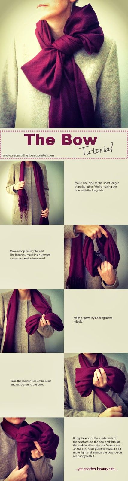 Learn step by step how to tie a scarf to look like a big bow. Classy! #howtotieascarf #bowscarf #scarf