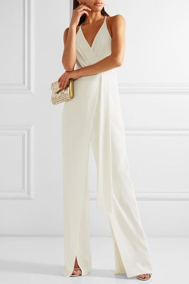 Halston Heritage - Draped Georgette-trimmed Crepe Jumpsuit - White - US12