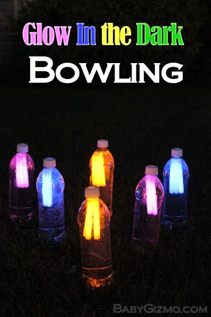 Glow in the Dark Night Time (or in a dark indoor room!) Bowling DIY Kids Game Tutorial via Baby Gizmo