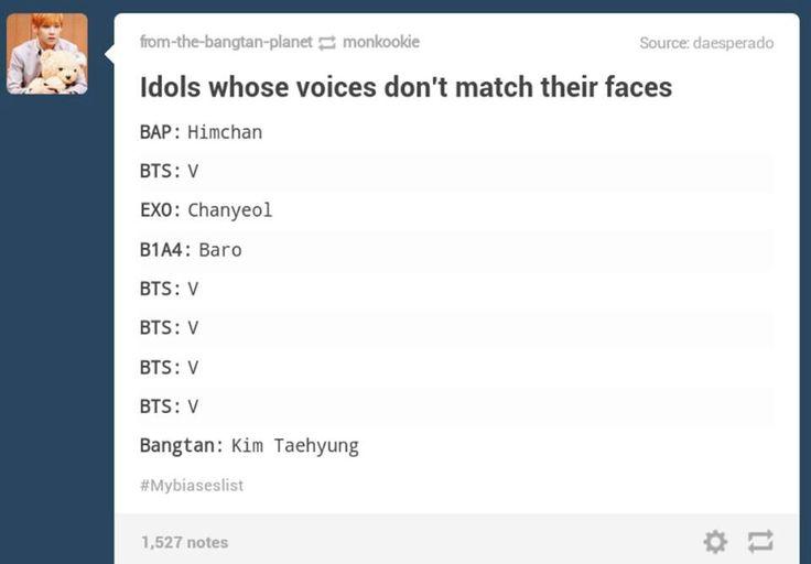 hahahahahha BTS V idols whose voices don't match their faces V Taehyung Himchan Chanyeol Baro