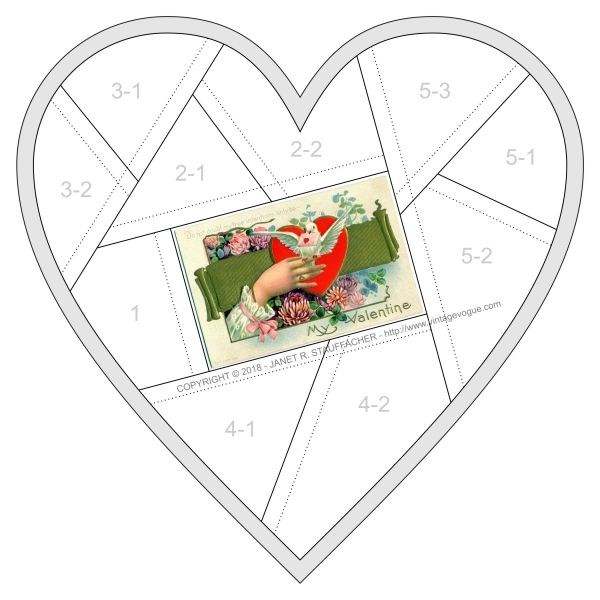 Do Not Doubt My True Intentions, Only Be My Valentine Crazy Quilt Block – FREE – February 2018 – Download the pattern for the Only Be My Valentine Crazy Quilt Block designed by Janet Stauffacher.