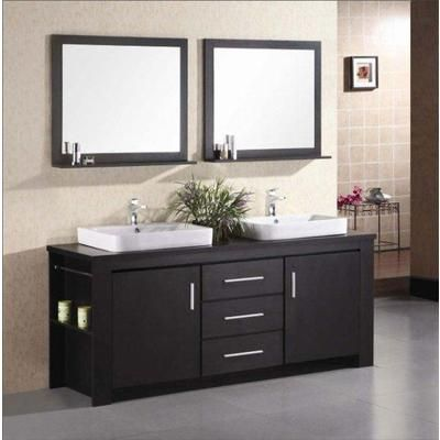 Design Element - Washington 72 Inches Vanity in Espresso with Wood Vanity Top in Espresso and Mirror (Faucet not included) - DEC083D - Home Depot Canada