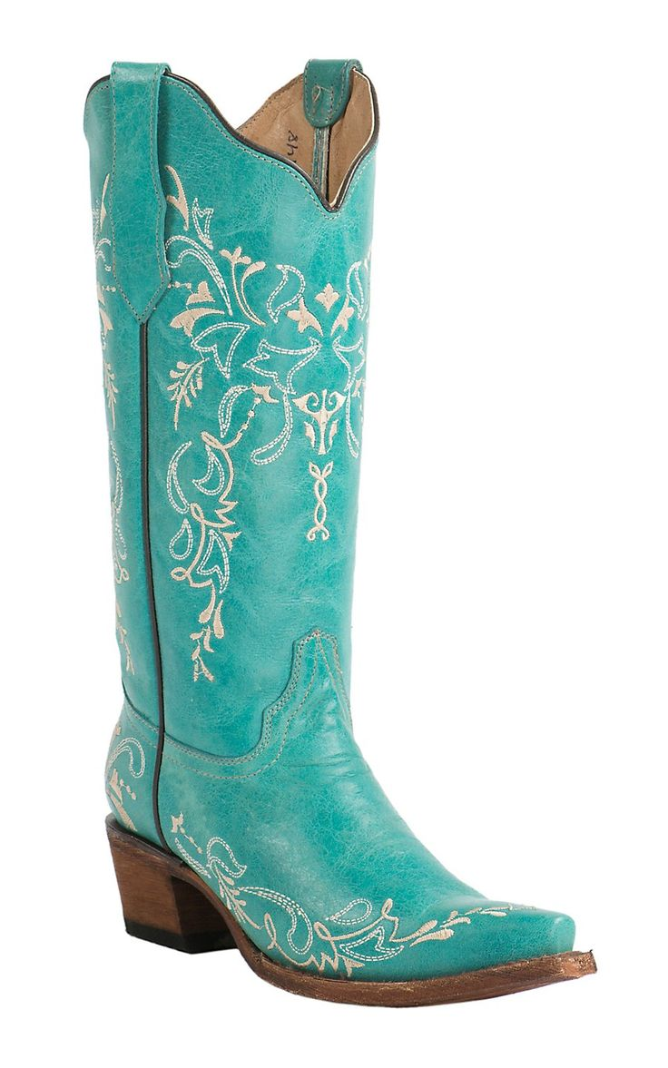 Corral Circle G Women's Turquoise with Cream Embroidery Snip Toe Western Boots | Cavender's