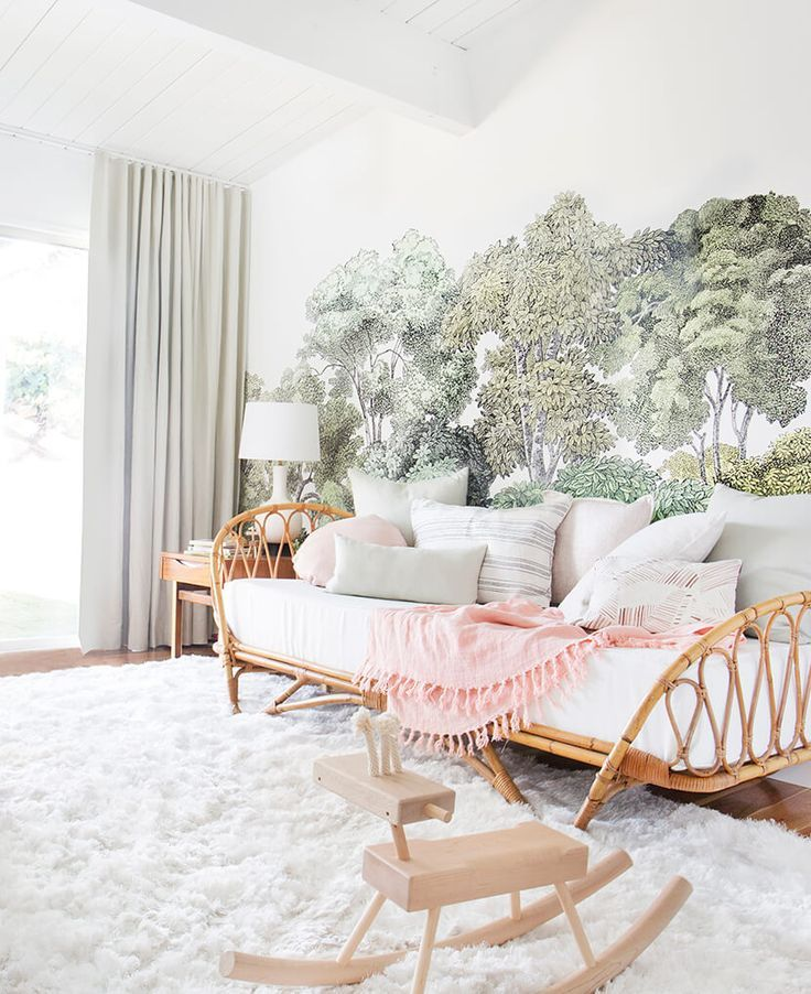 What a beautiful cane daybed/couch! That would be so beautiful in a living room or guest room.    A Baby Girl's Blush and Green Nursery.