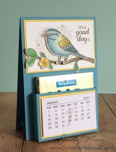 Stampin' Up! Best Birds Post-It Note Mini Calendar - Judy May, Just Judy Designs