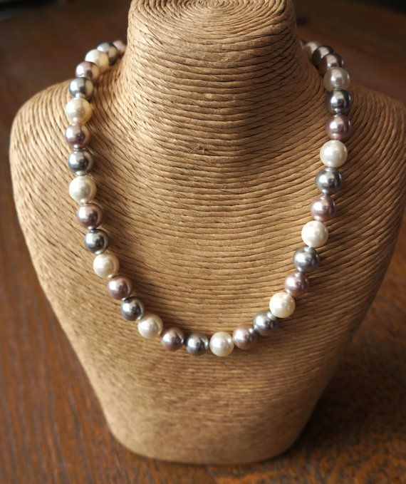 Pearl Necklace, Mother's Day Gift,  Dusky Pink Pearls, Silver Pearls, choker Necklace, Heart Toggle Clasp in Sterling Silver