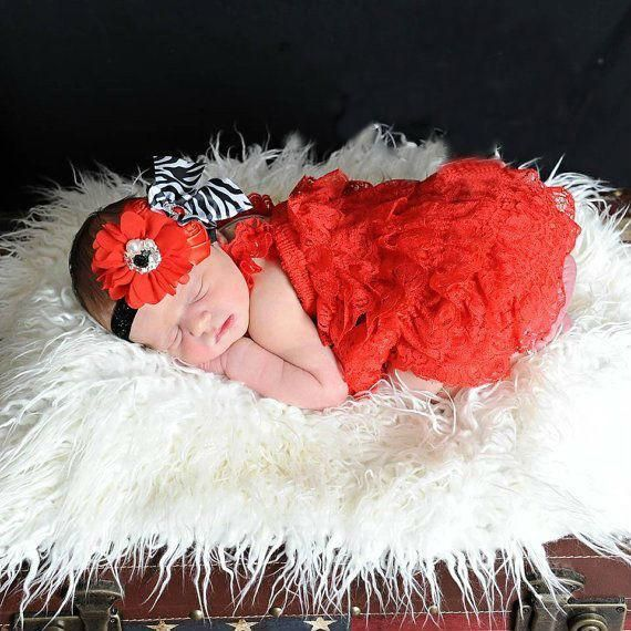 ~Red Lace Romper Set with Zebra Headband~ Newborn to 4 Years