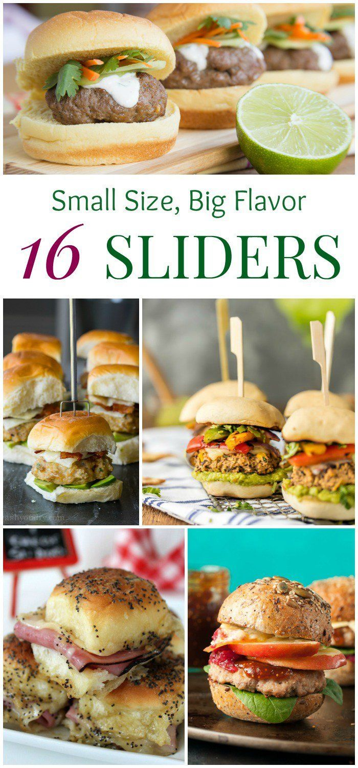 16 Sliders - easy recipes for your favorite little sandwiches and burgers that make perfect appetizers and snacks for any big game party.