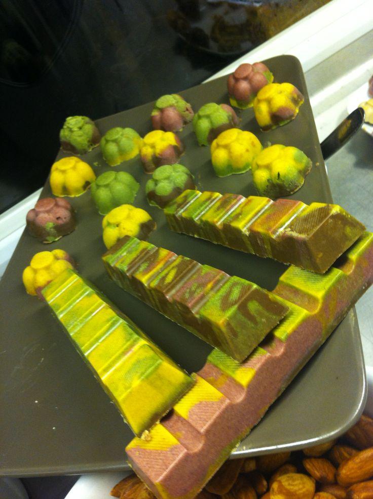 Colourful handmade raw chocolate.