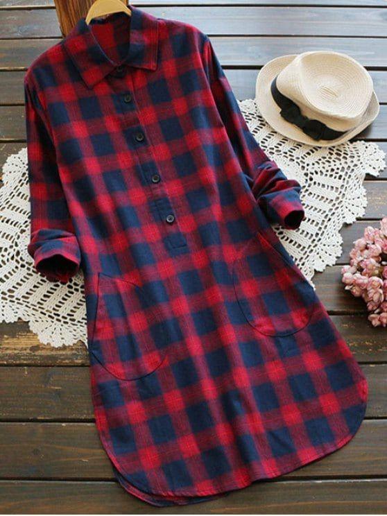 Pockets Plaid Tunic Flannel Shirt Dress - RED M
