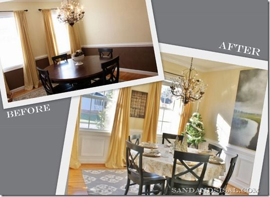 Dining Room Before After Wainscoting Tutorial
