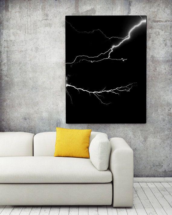 Lightning Bolt / Night Sky Storm  by NordicPrintStudio on Etsy