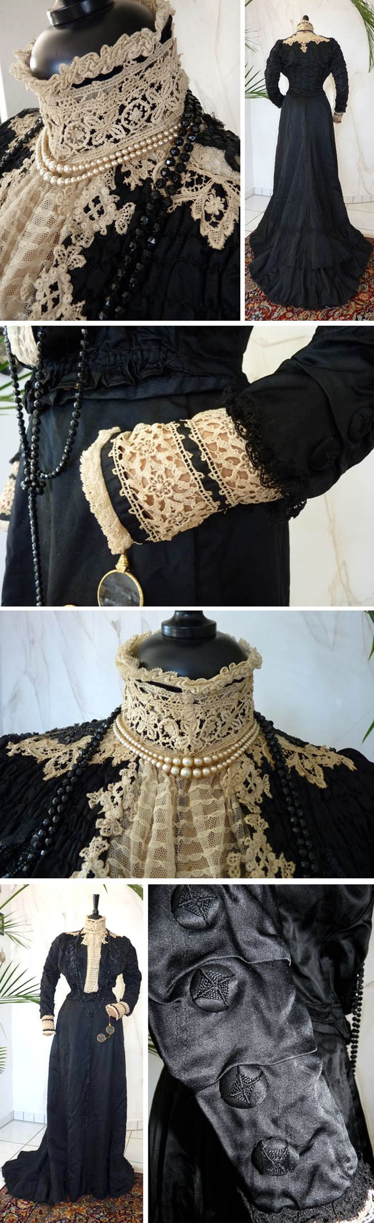 Dinner dress, Mrs. Clow, Banbury, England, ca. 1895. Cream and black lace, silk, sequins, tulle, all handworked. Pocket in skirt. Back of train has cord with which the wearer could lift carry it. Antique-Gown