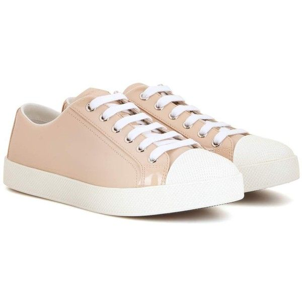 Prada Patent  Leather Sneakers (£415) ❤ liked on Polyvore featuring shoes, sneakers, neutrals, prada sneakers, nude sneakers, prada footwear, prada and prada shoes