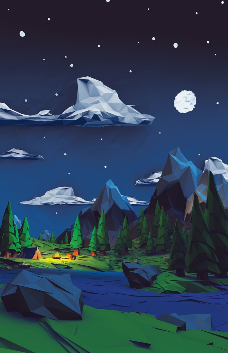 Low polygon outdoor scene, like the scale, not the texture. Moon lighting ref