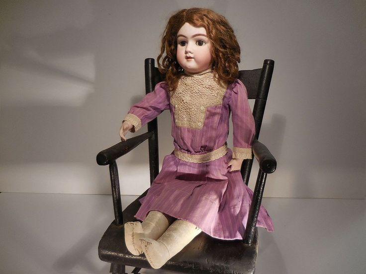"AAFA 26"" German Bisque Doll Brown Eye Pierced Ears Leather Body 100-13 3/4 #Country #German"