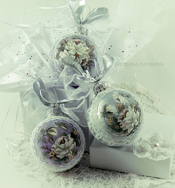 Christmas Ornament Glass Victorian Roses Hand Painted Shabby Chic Vintage