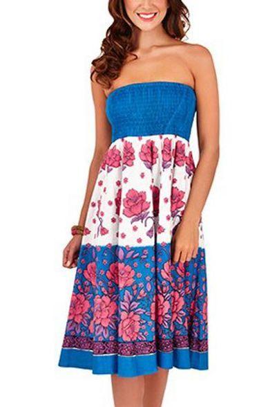 Pistachio, Ladies 2 in 1 Cotton Summer Holiday Dress, UK Sizes 8-22, Blue