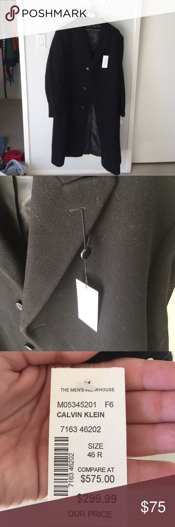 Calvin Klein wool and cashmere men's overcoat. NWT Beautiful men's long overcoat, wool and cashmere new with tags! Dark black and very warm Calvin Klein Jackets & Coats Pea Coats