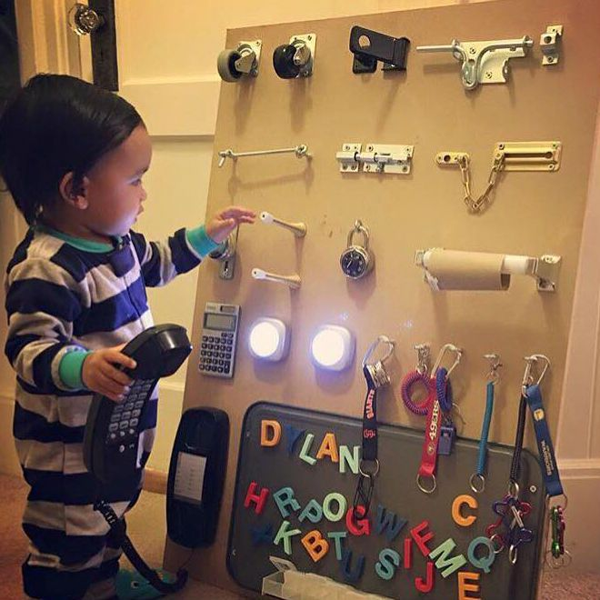Genius parenting hack—busy board to entertain your toddler