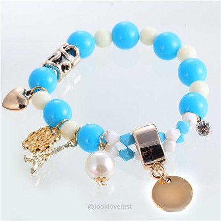 Parisian Pastel Eiffel Tower Pearl Bead Charm Bracelet by 17KM-Bracelets-Look Love Lust, https://www.looklovelust.com/products/parisian-pastel-eiffel-tower-pearl-bead-charm-bracelet