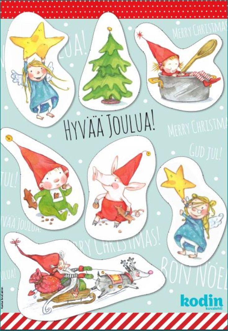 Printtaa kuvittaja, AD Taru Castrenin taiteilemat suloiset pakettikortit joululahjoihin.